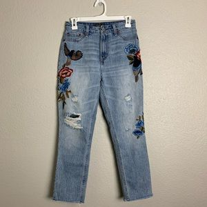 A&F high rise embroidered jeans